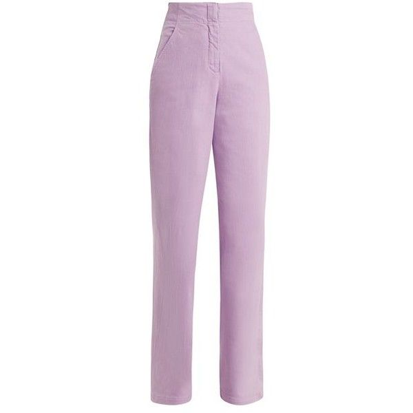 Tibi High-rise wide-leg jeans ($425) ❤ liked on Polyvore featuring jeans, light purple, high rise wide leg jeans, high waisted jeans, lavender jeans, high-waisted jeans and tibi