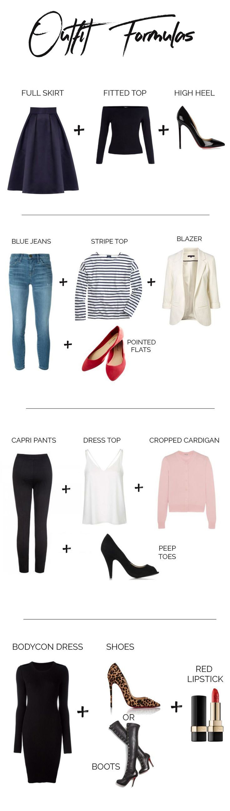 four outfit formulas that never fail: easy outfit ideas that will work well with capsule wardrobes and make getting dressed a whole lot easier!