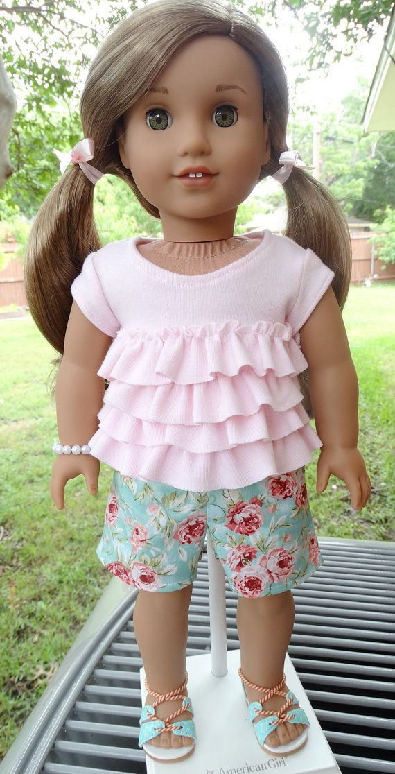 18 Doll Clothes Ruffled T-Shirt Outfit Fits by Designed4Dolls
