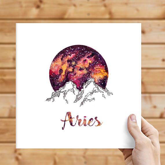 Aires Zodiac Watercolour Painting