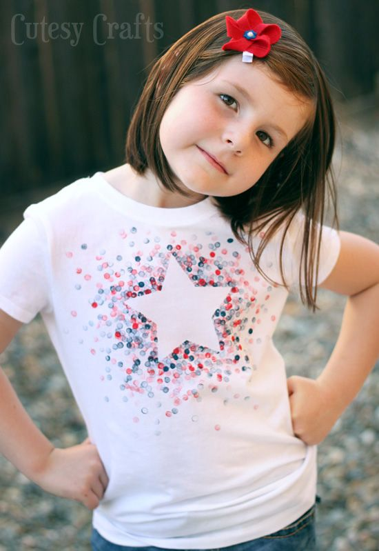 DIY Eraser-Stamped Shirt - Made with Freezer Paper and a pencil eraser!
