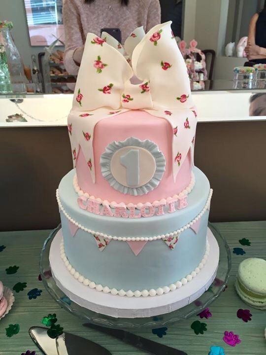2 tier Pink and Tiffany Blue Vintage look. Hand painted roses on bow and bunting.