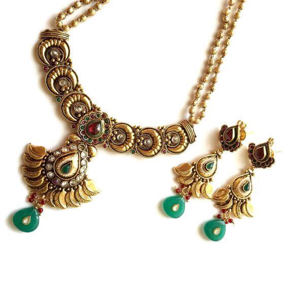 Polki, Multi Stone collar y pendientes de la lámpara conjunto, chapado en oro, joyería de imitación, Esmeraldas detalles, indio, paquistaní, Diwali