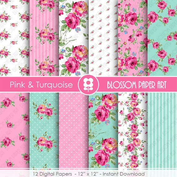Pink Floral Papers Light Blue Floral Paper Pack by blossompaperart