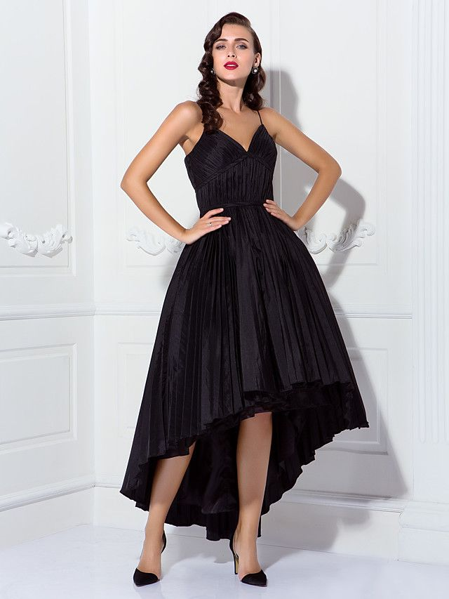 TS Couture® Cocktail Party / Prom Dress - 1950s Plus Size / Petite Ball Gown Spaghetti Straps Asymmetrical Taffeta withDraping / Sash / Ribbon / Side - AUD $114.39