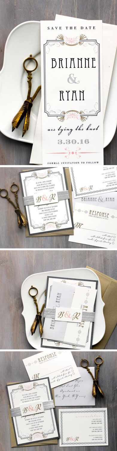 Art Deco Love - Old Hollywood Inspired Modern Wedding Invitations with Luxe Shimmer Ribbon, Vintage, Romantic, Gray, Gold, Pink and Ivory