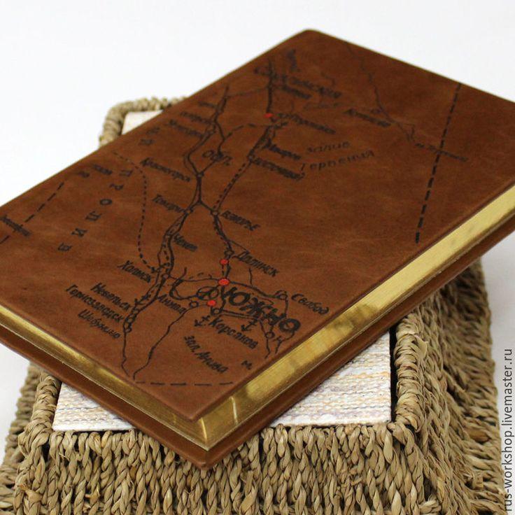 Купить Ежедневник карта остров Сахалин. - коричневый, ежедневник, ежедневник ручной работы, ежедневник в подарок