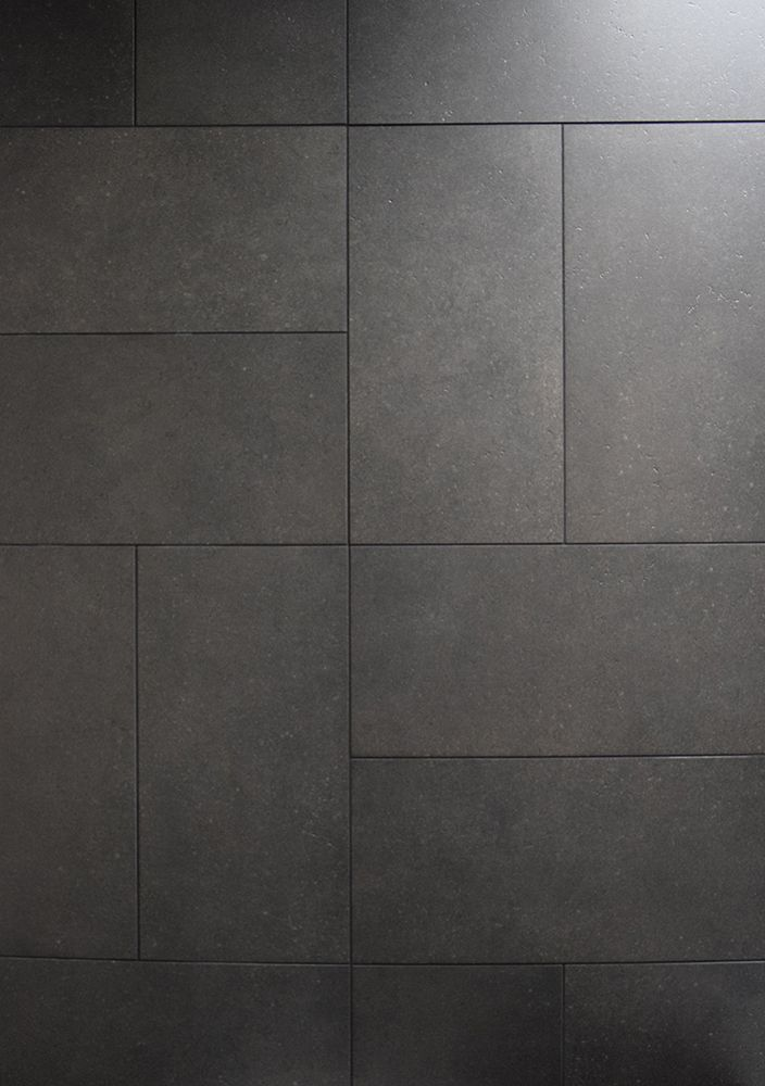 Tile with style dark gray 12x24 basketweave design for Black tile bathroom designs