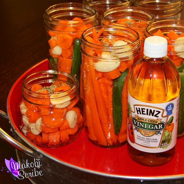 How To Pickle Anything Ingredients ✿•2 cups of Heinz Apple Cider Vinegar ✿•2.5 T Kosher Salt ✿•1 T sugar ✿•3 cups water ✿•½ T Pickling Spice ✿•Fresh Dill ✿•Mustard Seed ✿•Vegetables for Pickling ✿•1 gallon of water for brining ✿•½ cup of picking salt ✿Use a non-metal pot for all processes. The metal will react with the vinegar and give you a cloudy solution.