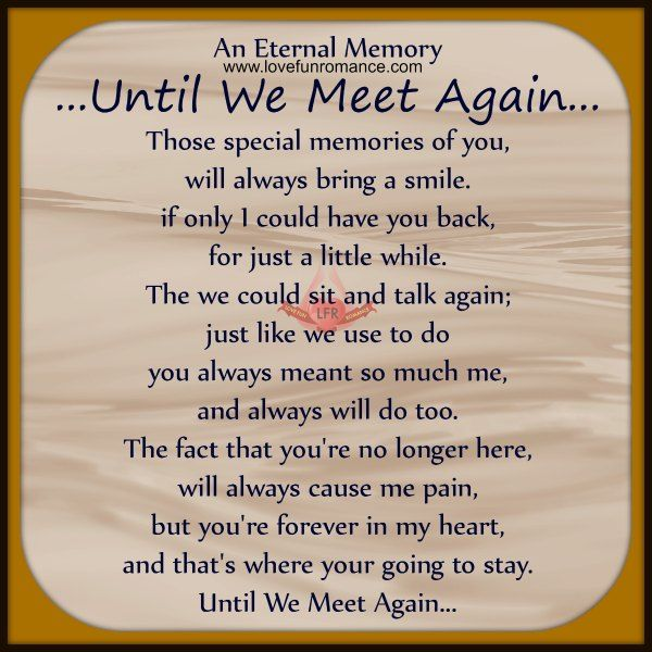 An Eternal Memory  Until We Meet Again    Those special memories of    Until We Meet Again Poems