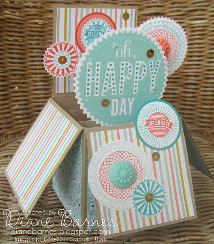 Stampin Up card in a box with Starburst Sayings & Spiral Spins by Di Barnes #stampinupau #stampinup #colourmehappy #cardinabox