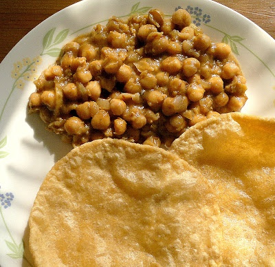Chole + Poori - spicy chickpea curry with fried Indian bread
