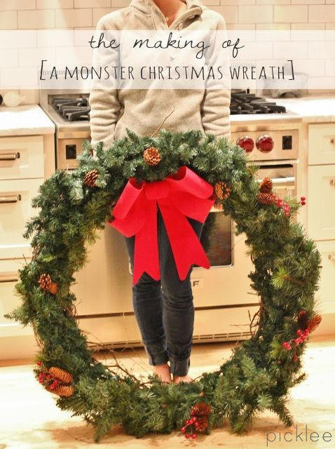 How I made my HUGE Christmas wreath for under $30! Tutorial on Picklee