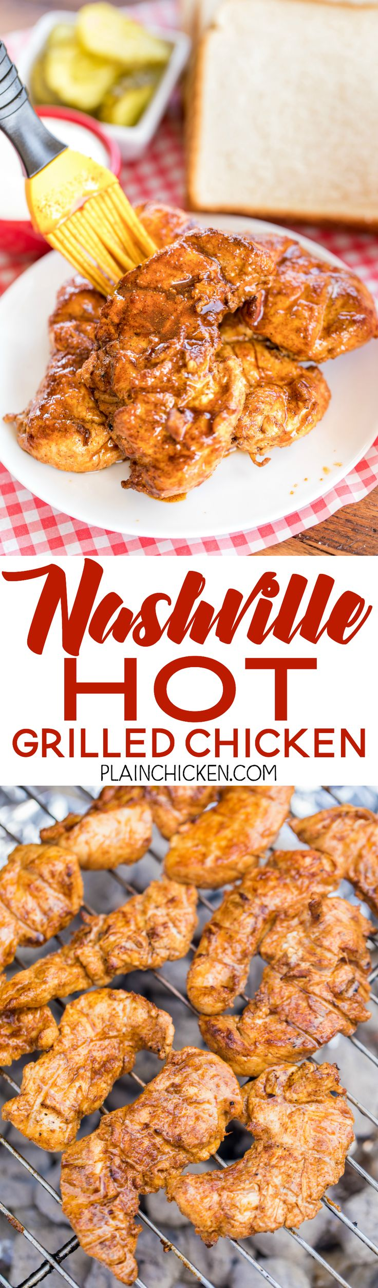 Nashville Hot Grilled Chicken - grilled version of the best spicy chicken around. Chicken marinated in cayenne pepper, brown sugar, chili powder, paprika, garlic powder and olive oil. Reserve some of the marinade to brush on the cooked chicken if you want it really HOT! Seriously THE BEST grilled chicken recipe! Serve with pickles, ranch and white bread! We are making this again this weekend - SO GOOD!