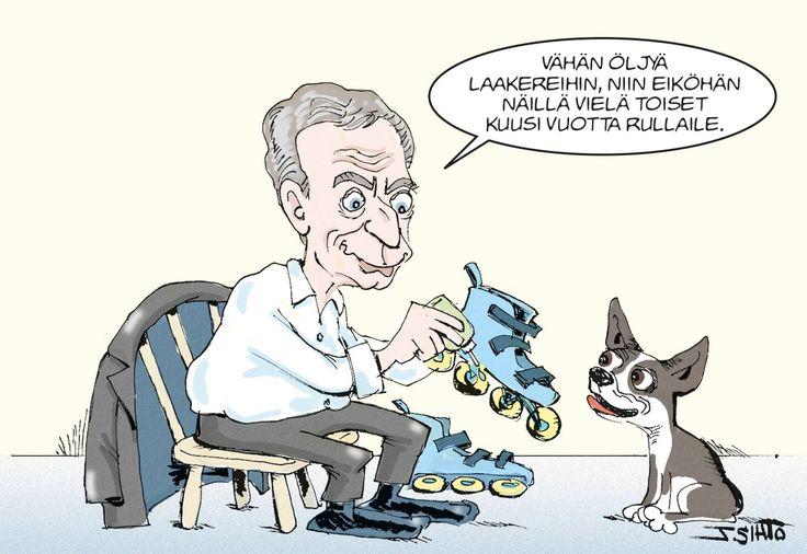Presidentti Sauli Niinistö pyrkii jatkokaudelle, jos saa tuekseen valitsijayhdistyksen, joka ei ole sidottu yhteen puolueeseen. Tässä pilapiirtäjä J.