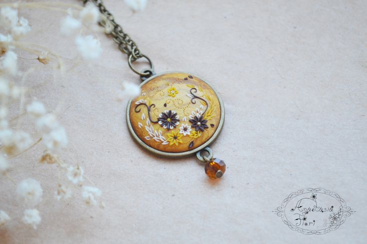 #pendant #necklace #fashion #jewery #handmade #filigree #spring #bright #flowers #polymerclay #etsy #etsyshop #giftforher #her