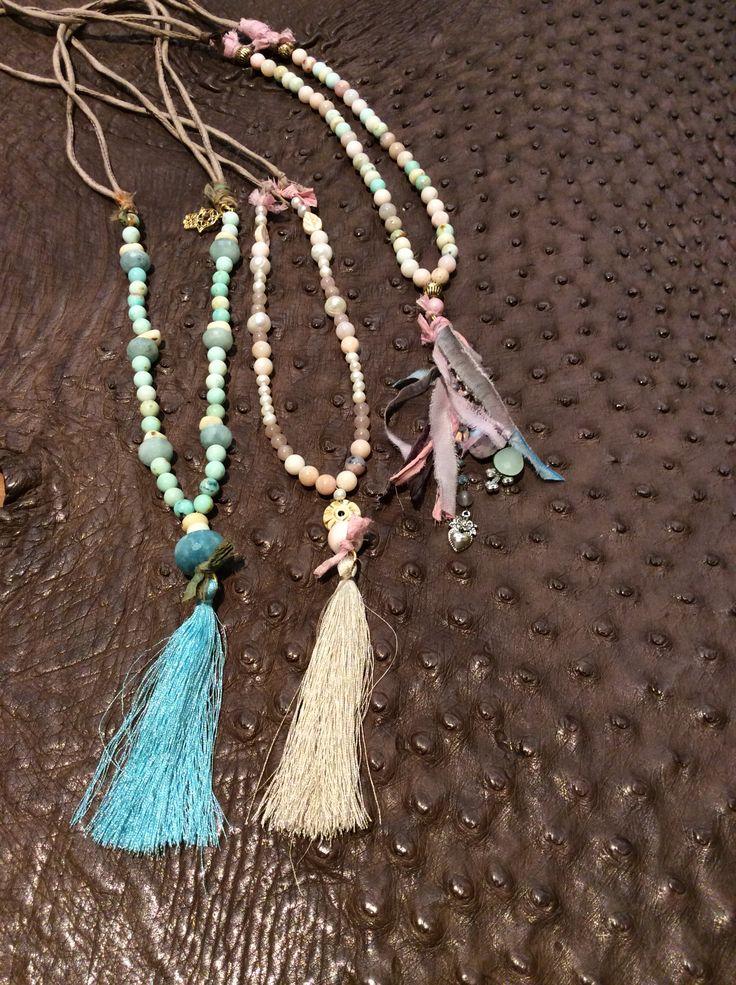 Collane con opale andino, conchiglia, acquamarina, argento