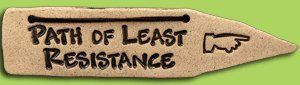 "Humorous Stoneware Garden Path Markers ""Path of Least Resistence"" Made in Canada by Amaranth Stoneware LTD. $13.95. They measure 9 by 2 inches.. Handmade in Canada if these don't make you and your friends laugh well.... This stoneware path marker have a leather tie so it is ready to hang.. These hysterical stoneware direction signs will show you the way."