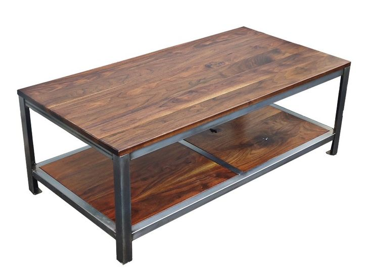 wood iron shelves | ... Walnut Steel Coffee Table by Kowalski Wood Designs | CustomMade.com