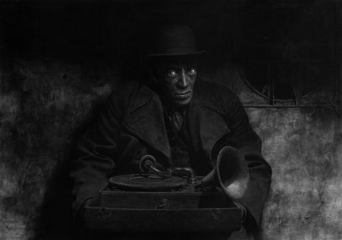 Otro maestro del carboncillo Harijs Brants. Me gusta su ilustración por su siniestralidad del personaje y la sensación de ocultismo que transmite.