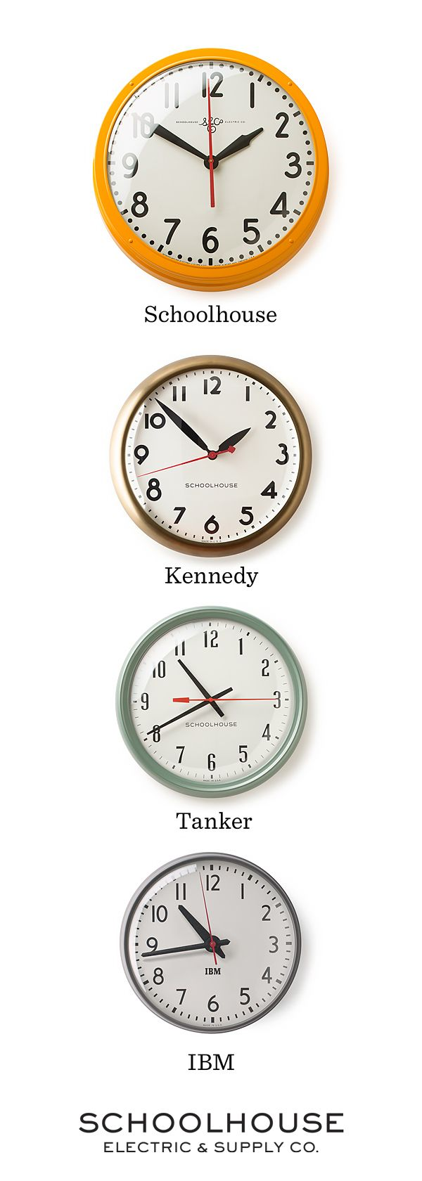 Inspired by the rich history of clock manufacturing in the U.S, each clock is assembled by hand in Portland, OR.   Shop vintage-inspired, industrial clocks by Schoolhouse Electric & Supply Co.
