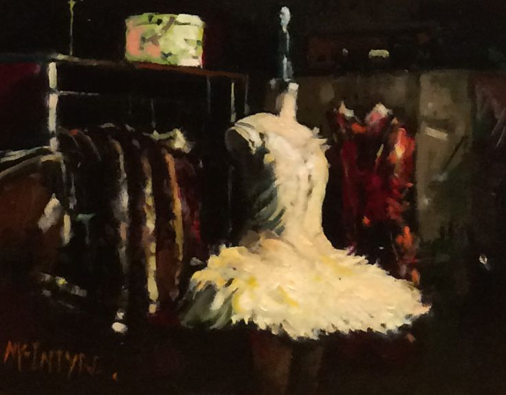 Joe McIntyre,Study for Backstage Mannequin, Los Angeles,Oils,8.5x12 l Scottish Contemporary Art