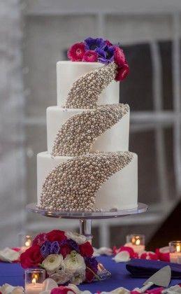 Chic Pearl Wedding Cake