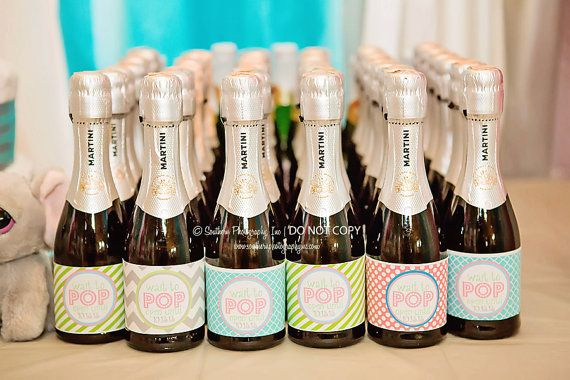 Ready to Pop Baby Shower mini champagne bottle label Hot Pink grey lime green PRINTABLE DIY