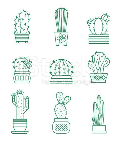 Set of vector cactus icons royalty-free stock vector art