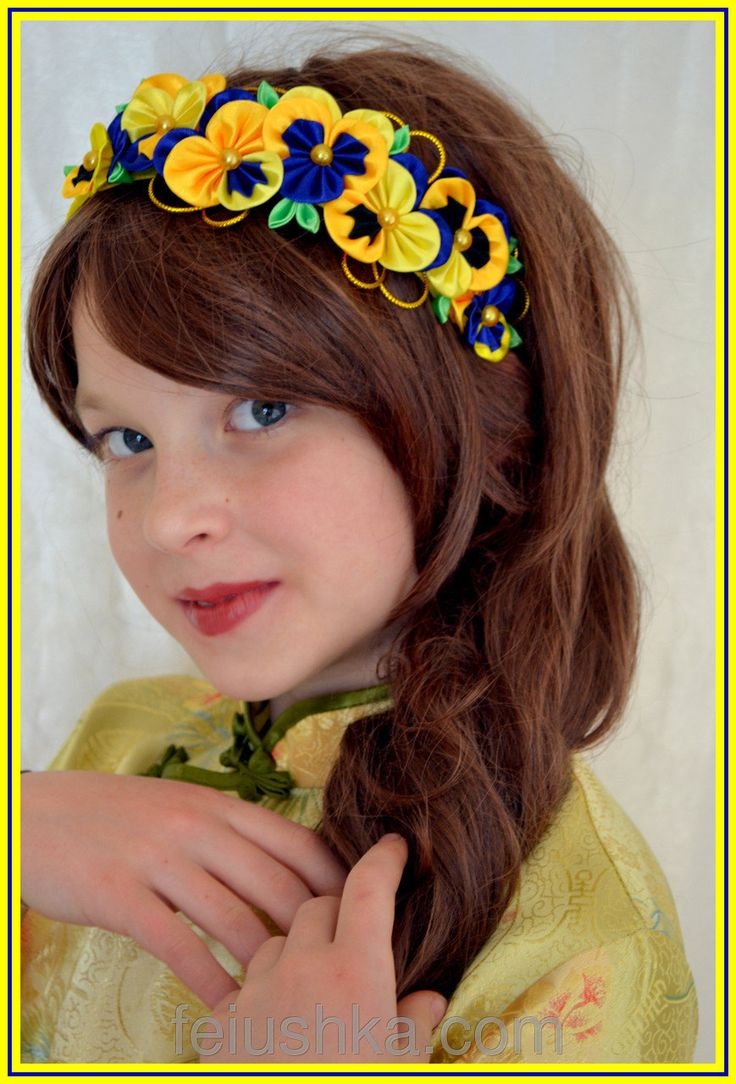 Pancy flowers head band kanzashi headband floral by FEIUSHKA