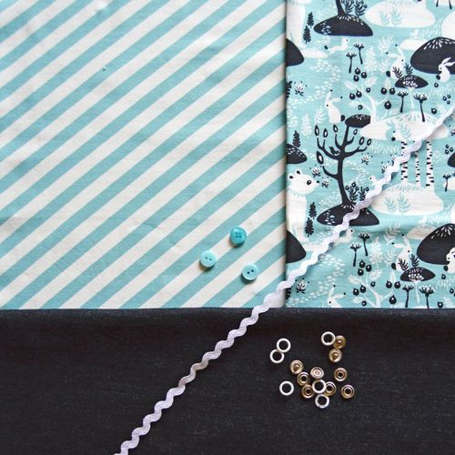 NOSH Organics Fabrics - POLKU, Aqua
