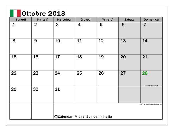 Calendario Ottobre 2020 Excel.Calendario Ottobre 2018 Italia Calendario Calendario
