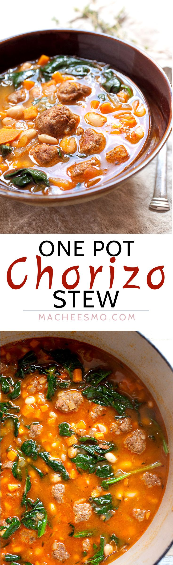 One Pot Chorizo Yam Stew: This is one of the most flavorful stews you'll make this year and everything just goes in one pot! The order is important though! Chorizo, yams, white beans, spinach. Perfect for winter! | macheesmo.com