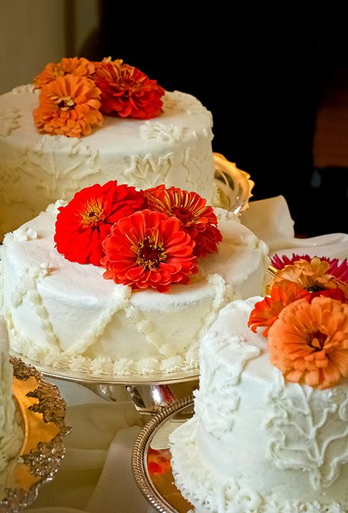 Three Wedding Cakes With Orange Flowers At Howard County Conservancy Maryland Ceremony Music Performed By