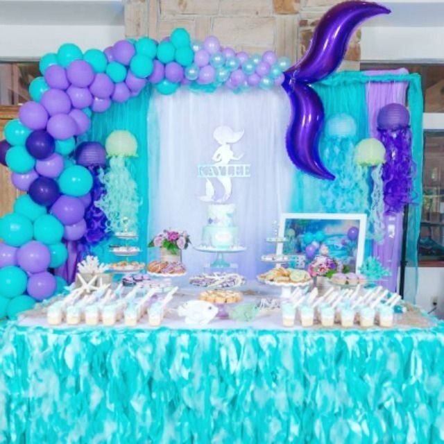Take A Look At This Beautiful Mermaid Party The Dessert Table Is S Mermaid Party Decorations Birthday Party Decorations Diy Mermaid Birthday Party Decorations