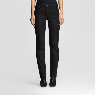 Women's Mid-rise Straight Leg Jeans (Curvy Fit) - Mossimo Black 00 Long, Variation Parent