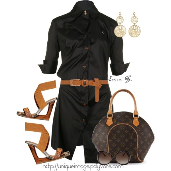 Classic Black Shirt Dress with caramel accessories...stunning. Pricey set but what a