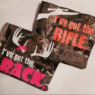 I've got the RIFLE and RACK country couple shirts are back for good!   Due to high demand we brought back our REALTREE camo country couple shirts.Women's shirts are printed on UNISEX fit tees.  Please order sizes accordingly.