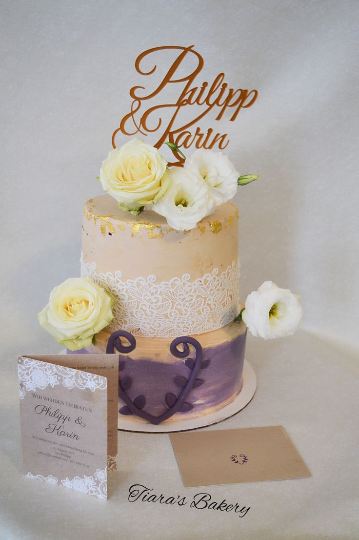 Wedding Cake, purple, beige white, lace, roses, by Tiara's Bakery, Switzerland