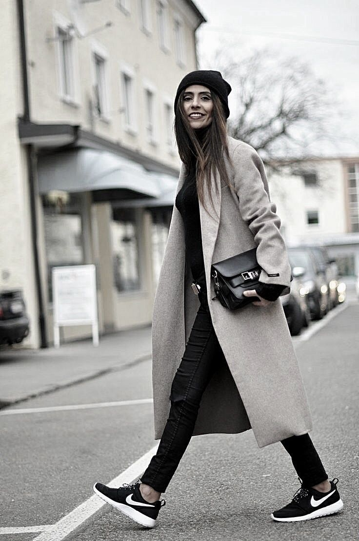 sneakers with long coat
