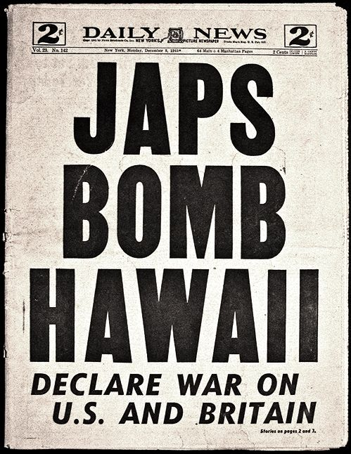New York Daily News, Japan Bombs Pearl Harbor,  December 7, 1941