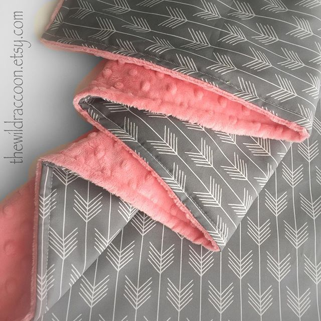 @thewildraccoon - We just love these Coral Minky and Gray Arrows blankets, and can't wait for a very sweet bride give a throw to each of her bridesmaids  Perfect for those little and big alike! Find yours at The Wild Raccoon on Etsy.