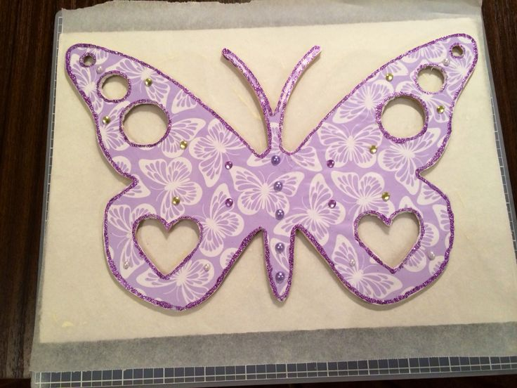 A wooden butterfly I have decorated for my youngest daughter.