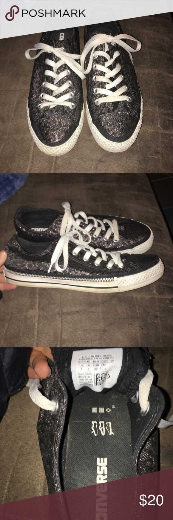 Women's leopard sparkle converse sneakers! Size 8! Only worn a handful of times! Just need a quick cleaning. Converse Shoes Sneakers