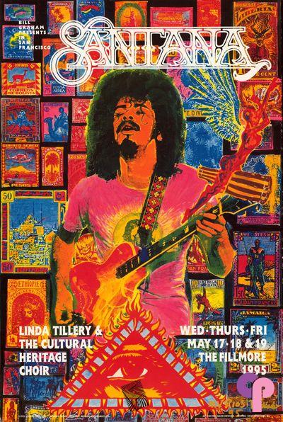 Classic Poster - Santana at Fillmore Auditorium, San Francisco, CA 5/17-19/95 by Michael Rios & Tony Machado