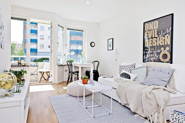 Small areas of the day: a studio apartment in soft tones