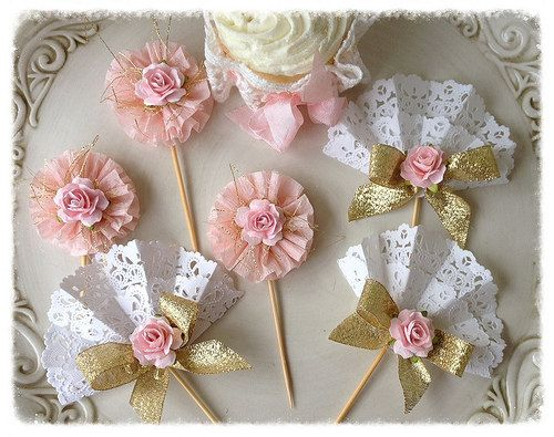 Gold and Pink Cupcake Toppers Set of Six for Birthday Party