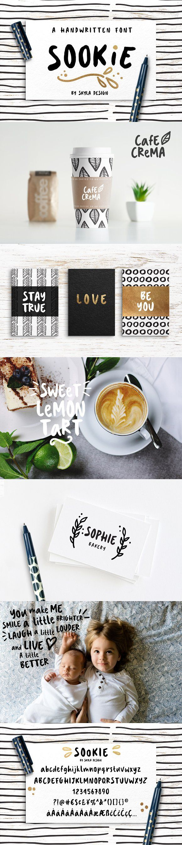 Cute handwritten font, Sookie by Skyla Design on @creativemarket