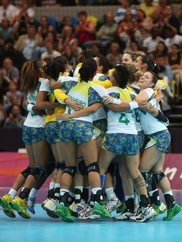 Brazil celebrate victory after the women's Handball preliminary group A match between Brazil and Montenegro on Day 3 of the London 2012 Olympic Games at the Copper Box