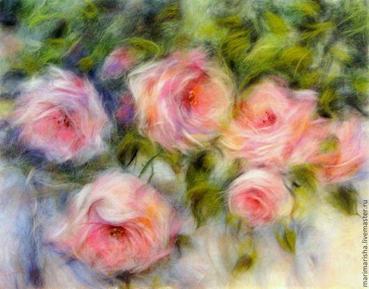 Картины цветов ручной работы. Ярмарка Мастеров - ручная работа. Купить Картина из шерсти Аромат роз. Handmade. Картина из шерсти